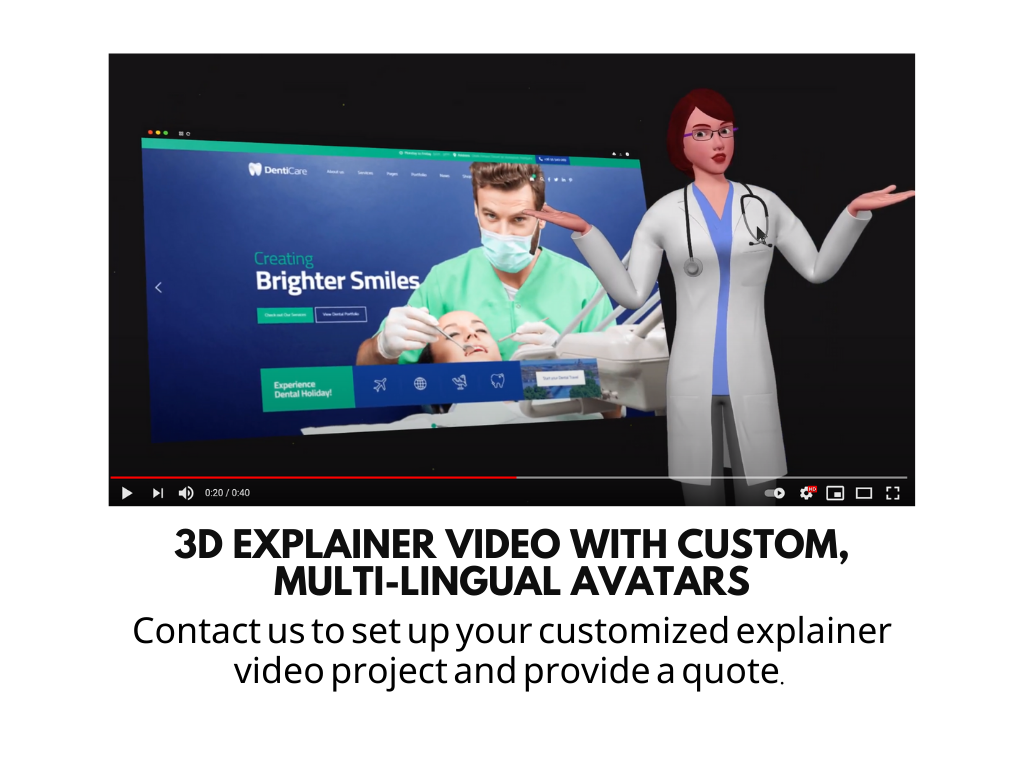 3d Explainer Video With Custom, Multi-lingual Avatars  (deposit Fee)